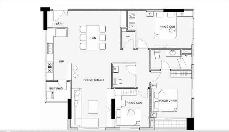 Bố cục chi tiết mặt bằng và nội thất - Nội thất chung cư