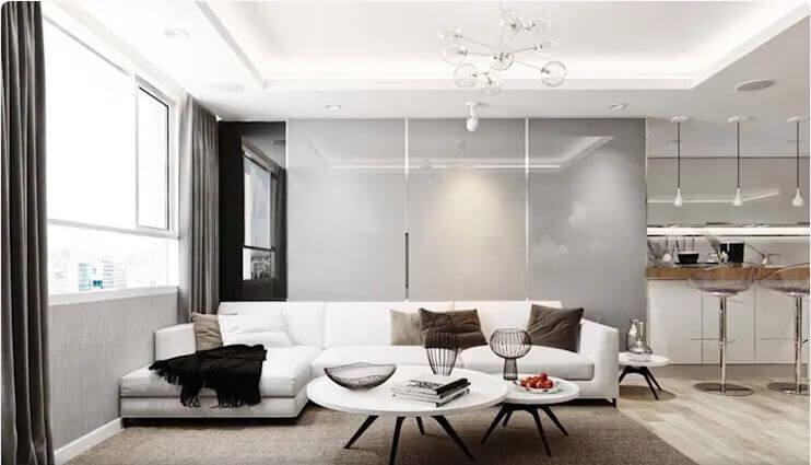 Phòng khách sử dụng tone màu trung tính nhưng nổi bật sự tương phản - Nội thất chung cư