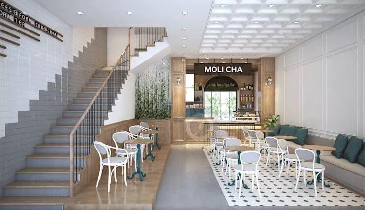 Phong cách kiến trúc pha trộn độc đáo - Thiết kế quán trà sữa đơn giản