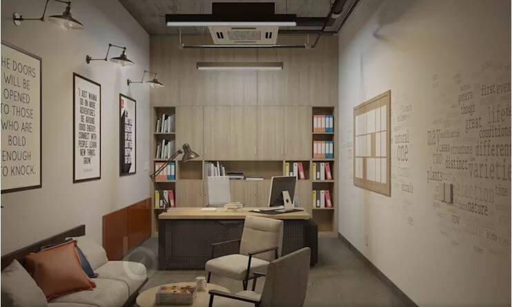 Các thiết kế không gian phòng làm việc dành cho trưởng phòng - Thiết kế văn phòng theo phong cách Industrial - 2