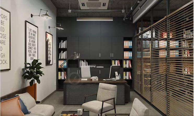 Các thiết kế không gian phòng làm việc dành cho trưởng phòng - Thiết kế văn phòng theo phong cách Industrial