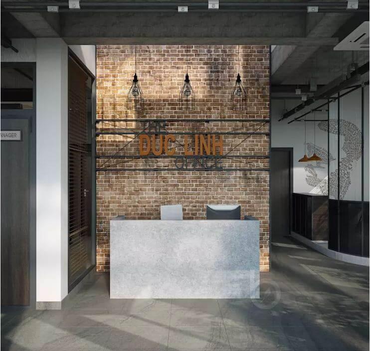 Lễ tân - Thiết kế văn phòng theo phong cách Industrial