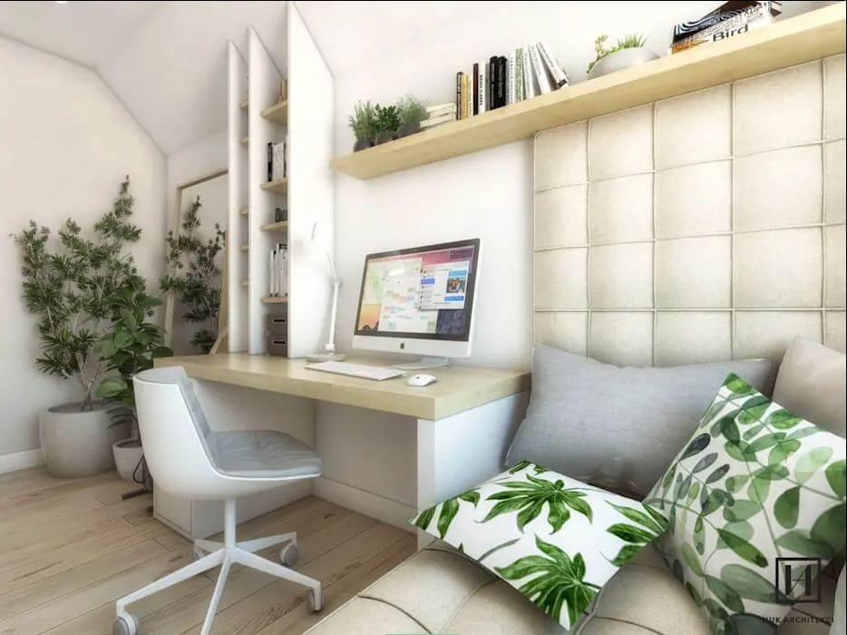 Thiết kế phòng làm việc với tone màu trắng và xanh lá