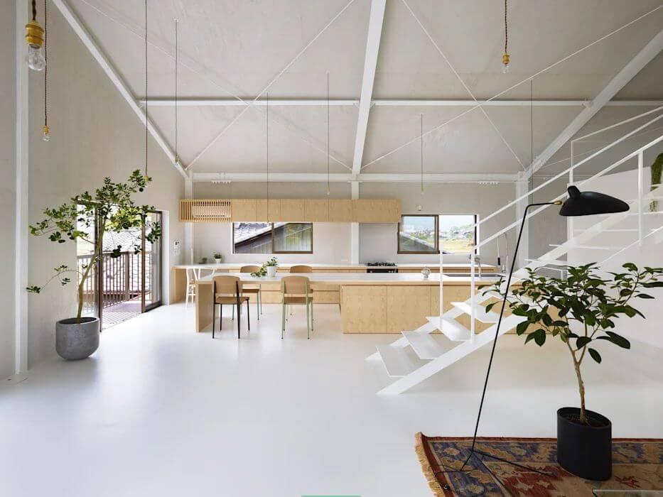 Trần sơn trắng lộ kết cấu - Mẫu trần nhà đẹp - 1