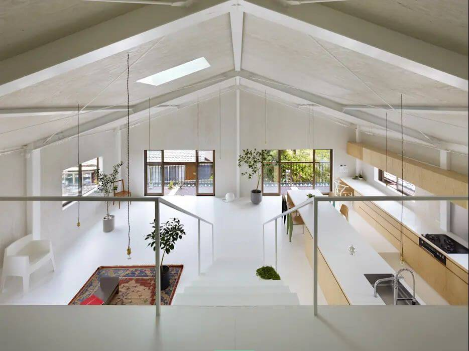 Trần sơn trắng lộ kết cấu - Mẫu trần nhà đẹp - 3