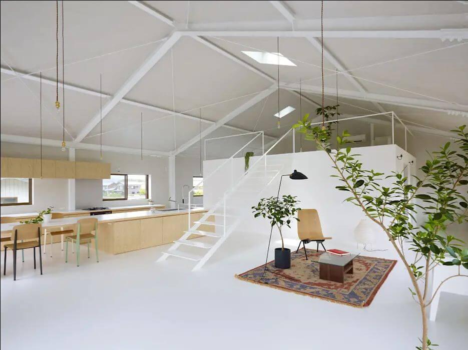 Trần sơn trắng lộ kết cấu - Mẫu trần nhà đẹp - 2
