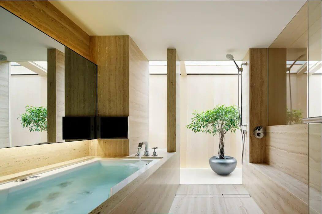 Thiết kế nhà tắm đẹp đơn giản với vườn bonsai đơn giản
