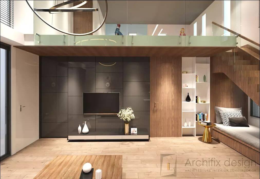 Phòng khách của căn hộ Duplex
