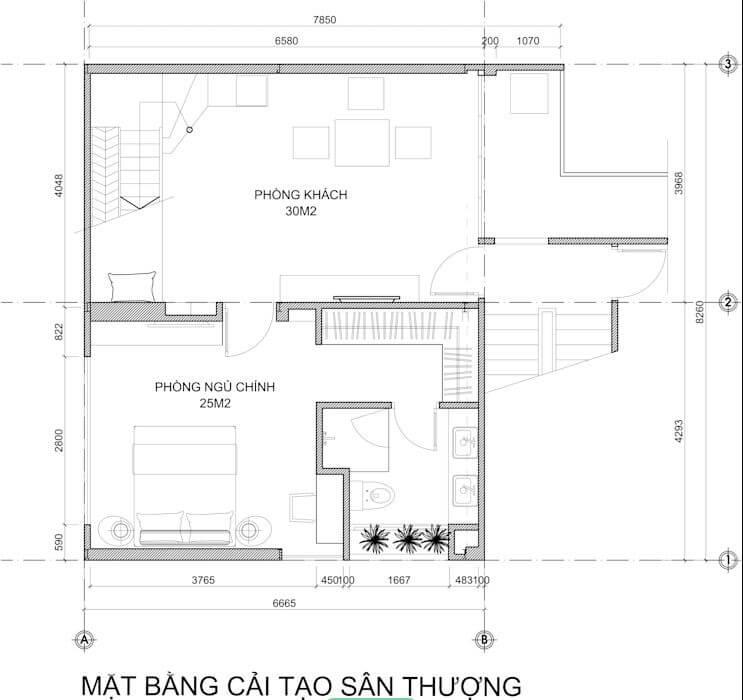 Bản vẽ thiết kế của mẫu căn hộ Duplex - 2