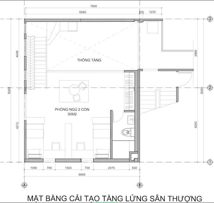 Bản vẽ thiết kế của mẫu căn hộ Duplex - 1