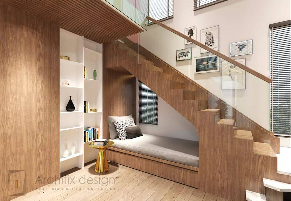 Tận dụng không gian dưới gầm cầu thang - Căn hộ Duplex