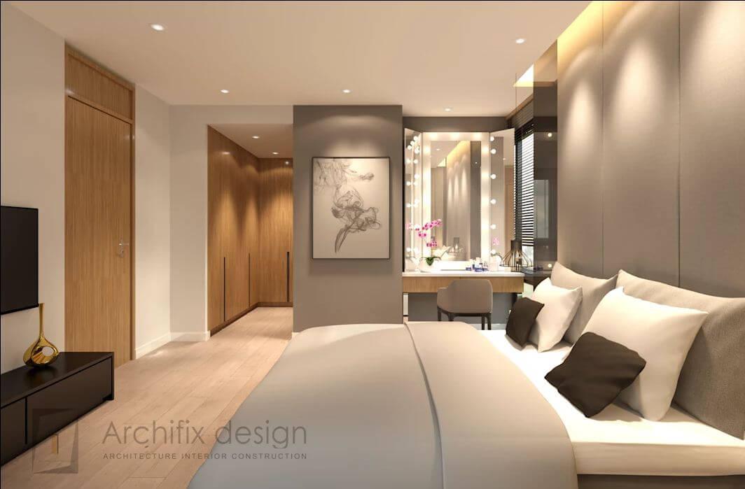 Phòng ngủ cha mẹ tại căn hộ Duplex