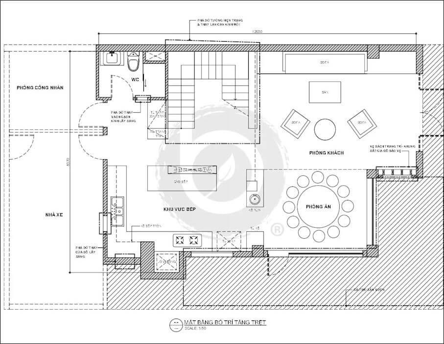 Bản vẽ tầng trệt của mẫu biệt thự Villa