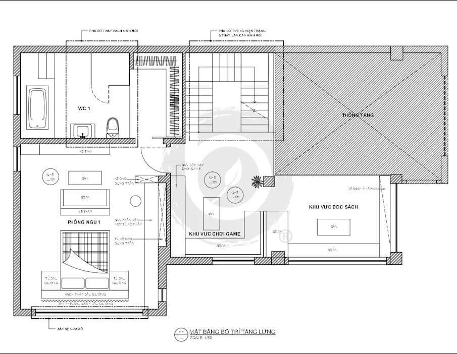Bản vẽ tầng lửng của mẫu biệt thự Villa