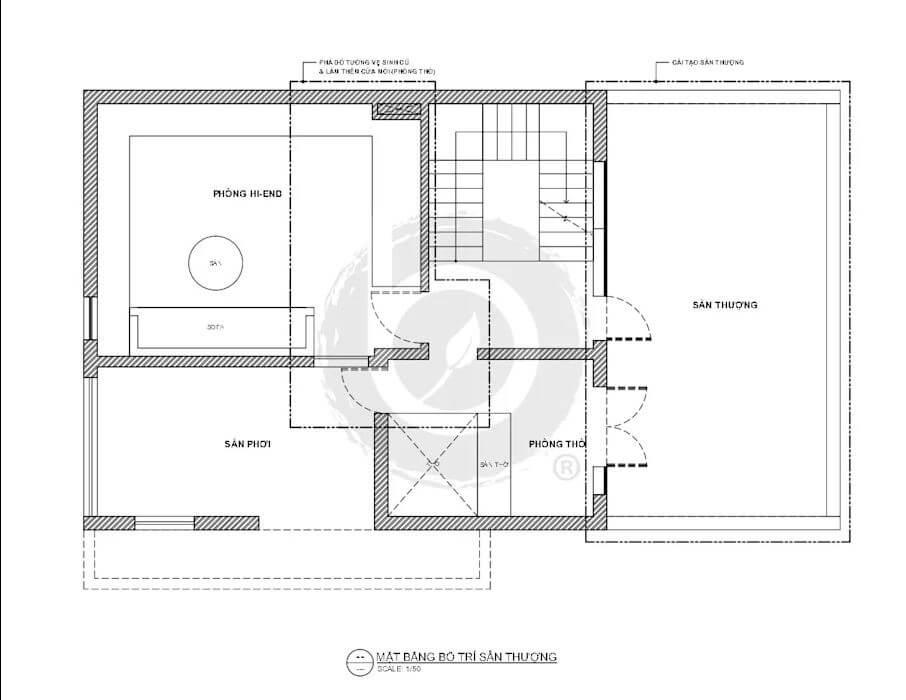 Mặt bằng bố trí sân thượng của mẫu biệt thự Villa