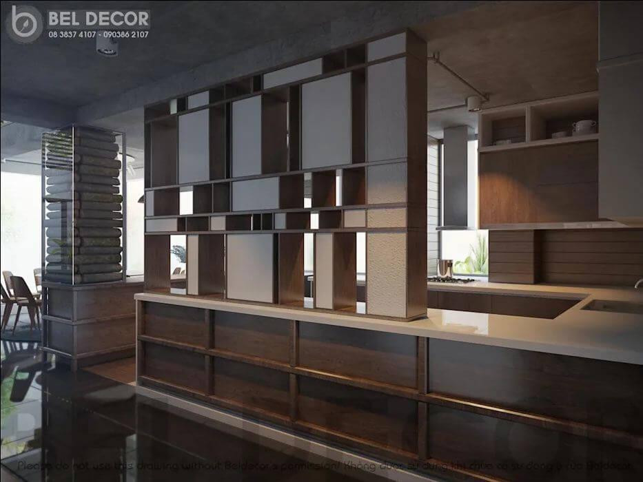 Không gian phòng bếp của mẫu biệt thự Villa