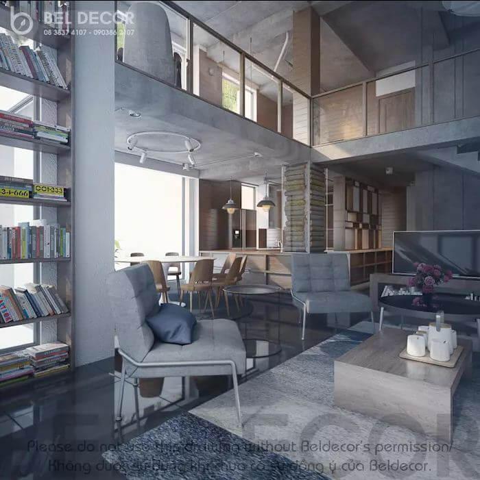 Không gian phòng khách của mẫu biệt thự Villa