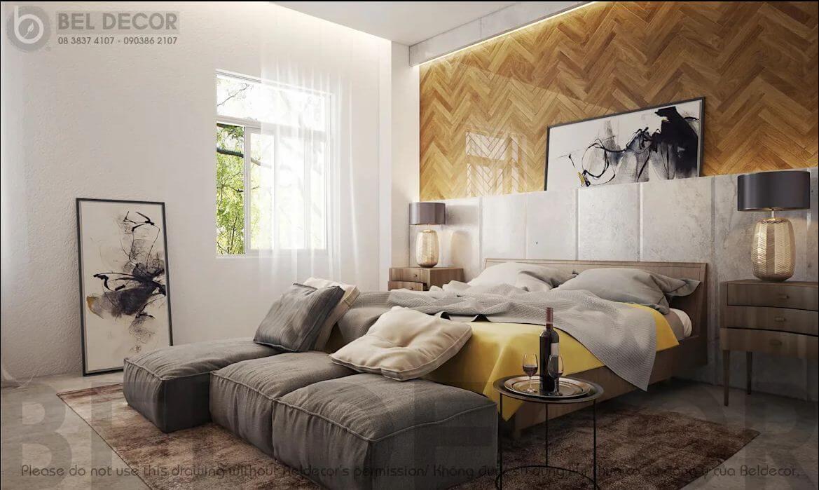 Phòng ngủ chính của mẫu thiết kế biệt thự vườn 200m2