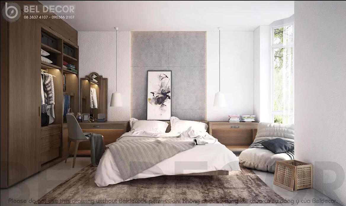 Phòng ngủ dành cho khách của mẫu thiết kế biệt thự vườn 200m2