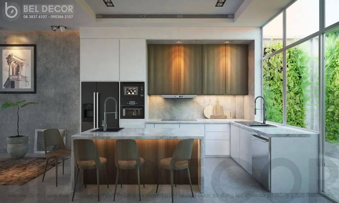 Khu vực bếp và phòng ăn của mẫu thiết kế biệt thự vườn 200m2