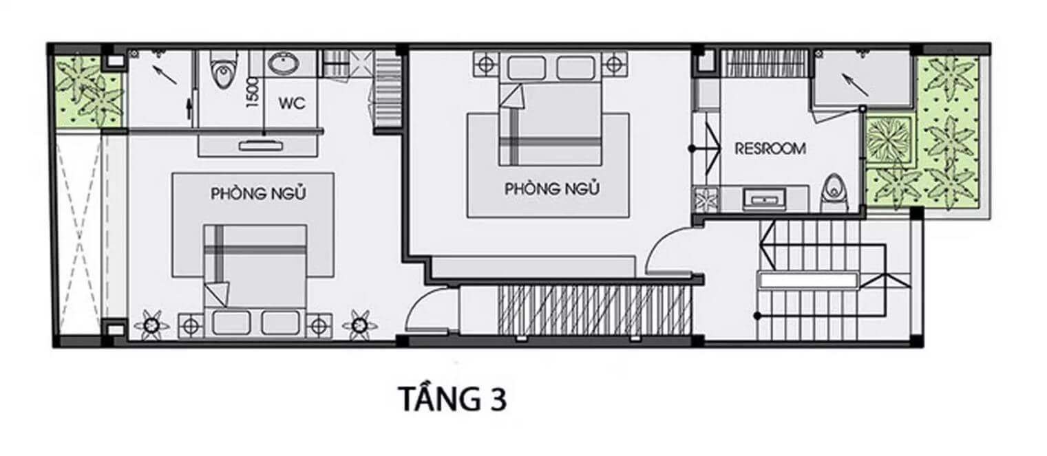 Mặt bằng tầng 3 - Nhà phố 3 tầng có hồ bơi