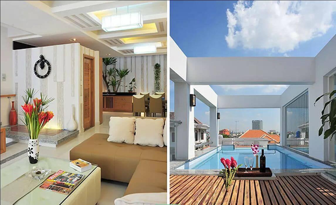 FULL hồ sơ ngôi nhà phố 3 tầng có hồ bơi độc đáo trên sân thượng