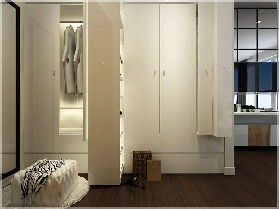 Không gian phòng thay đồ của căn nhà 90m2