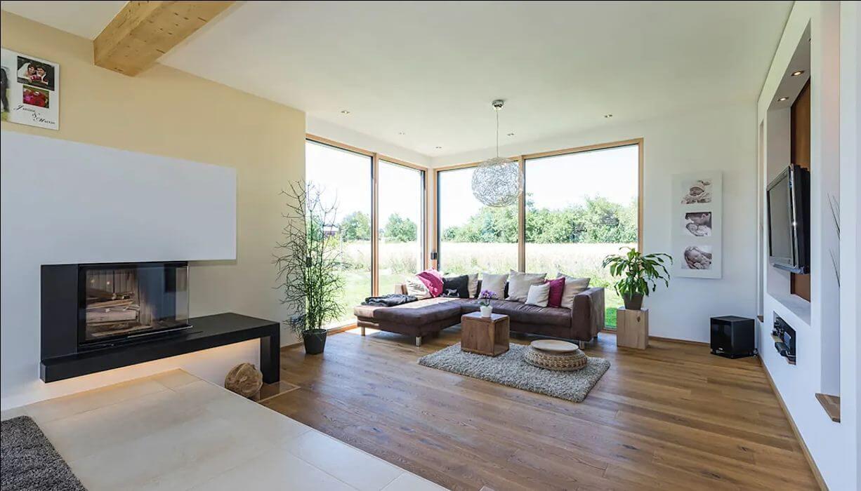 Không gian phòng khách của ngôi nhà hai tầng