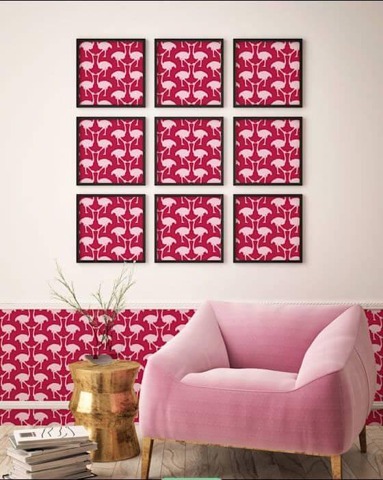 Tranh trang trí - Ngôi nhà đẹp với tone màu hồng