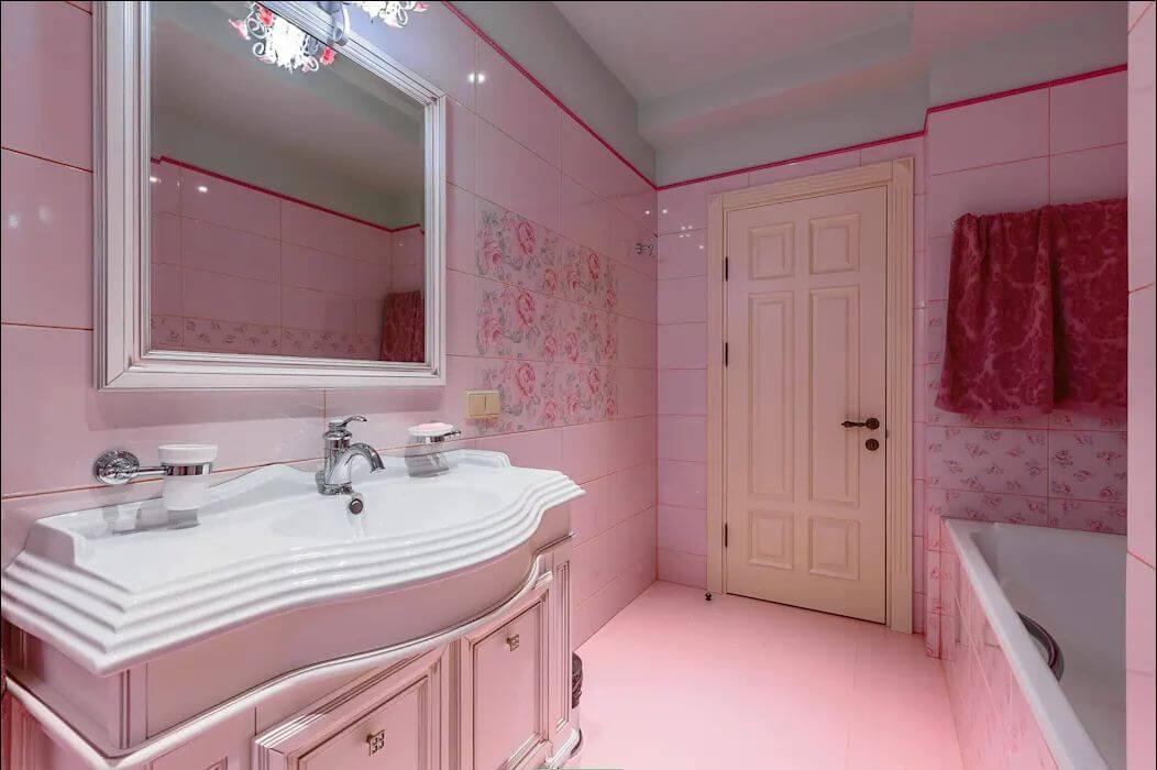 Phòng tắm - Ngôi nhà đẹp với tone màu hồng