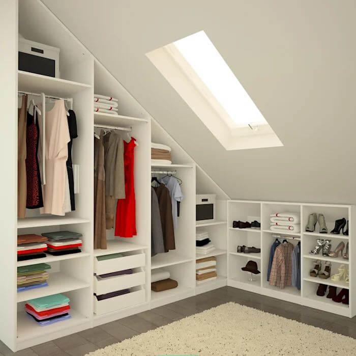 Thiết kế tủ đựng theo hình dáng căn phòng - Thiết kế phòng thay đồ