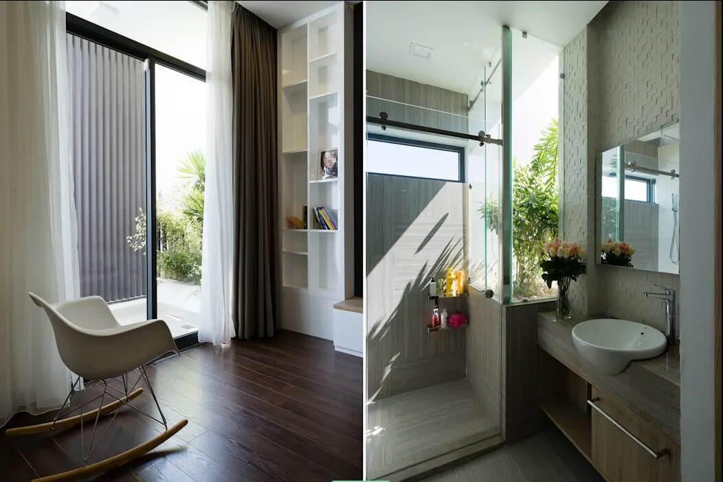 Góc thư giãn và nhà vệ sinh - Mẫu nhà phố đẹp 3 tầng