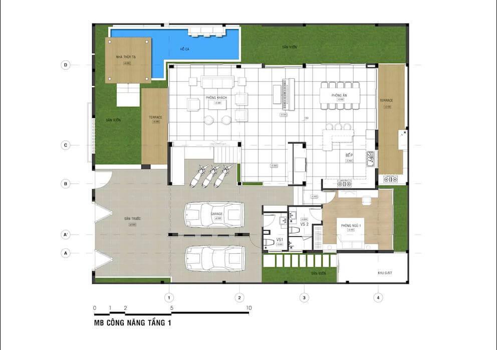 Bản vẽ chi tiết mẫu nhà phố đẹp 3 tầng