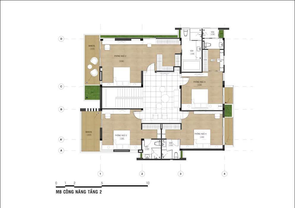Bản vẽ chi tiết mẫu nhà phố đẹp 3 tầng - 1