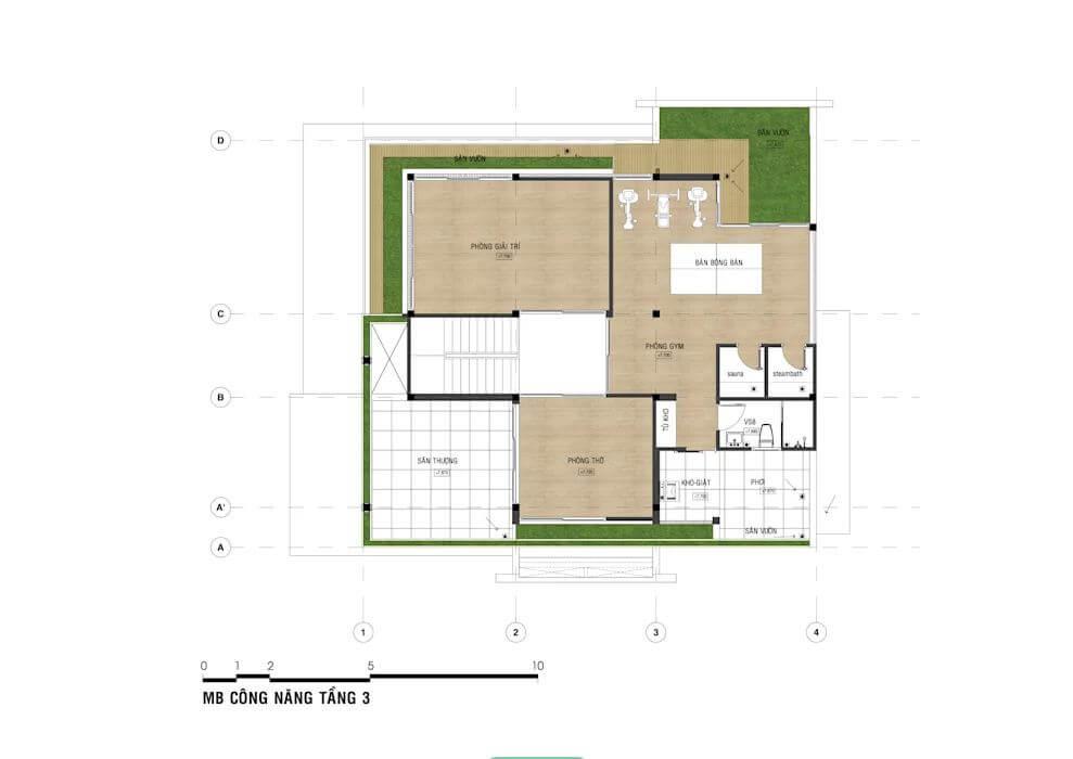 Bản vẽ chi tiết mẫu nhà phố đẹp 3 tầng - 2