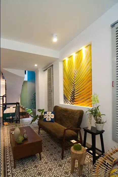 Ghế Sofa vải nhám màu rêu dành cho phòng khách gia đình