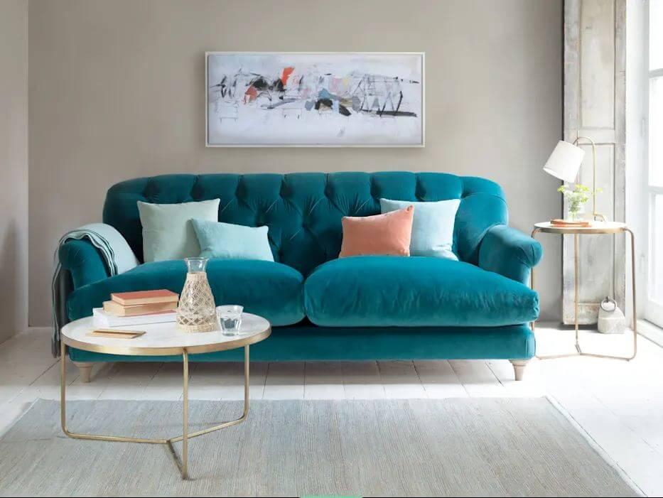 Ghế Sofa bọc nhung họa tiết dành cho phòng khách gia đình