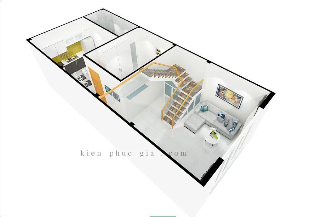 Bản 3D của mẫu thiết kế nhà phố có gác lửng - 1