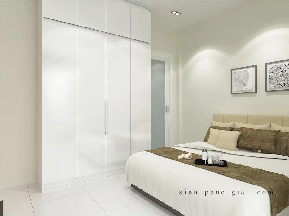 Phòng ngủ 1 của mẫu thiết kế nhà phố có gác lửng