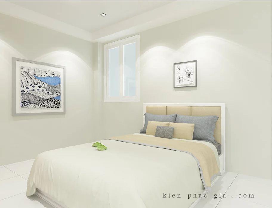 Không gian phòng ngủ 2 của mẫu thiết kế nhà phố có gác lửng