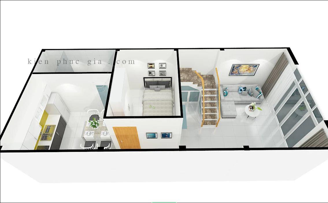Bản 3D của mẫu thiết kế nhà phố có gác lửng