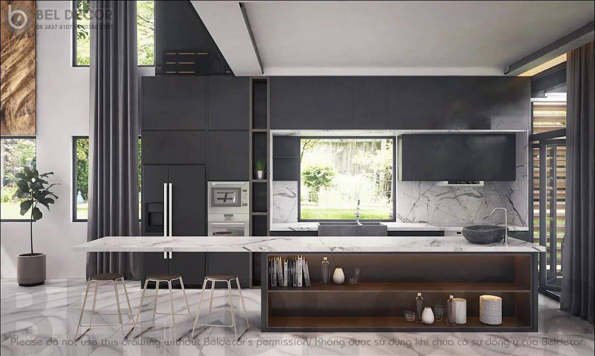 Không gian phòng bếp - Villa hiện đại