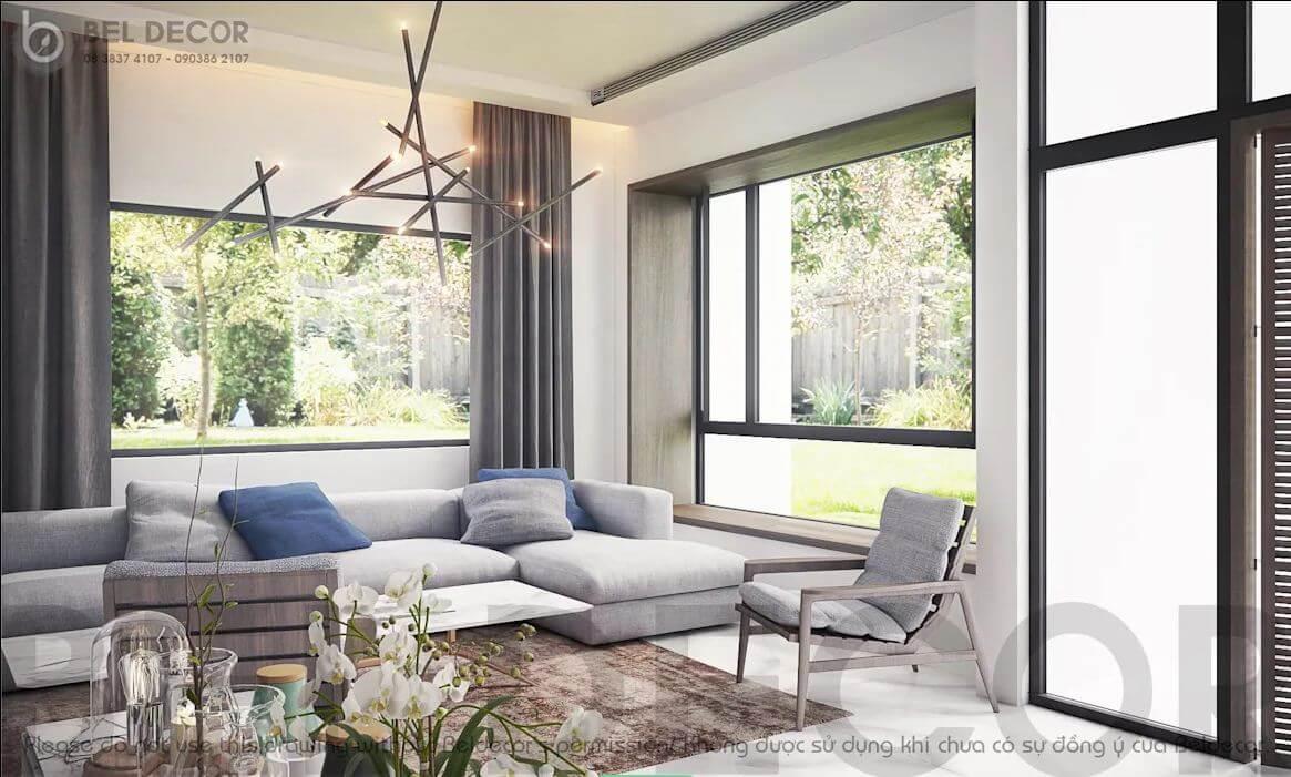 Không gian phòng khách - Villa hiện đại