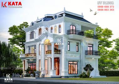 Phối cảnh tổng thể 3D chi tiết của mẫu biệt thự 3 tầng đẹp tân cổ điển tại Hà Tĩnh