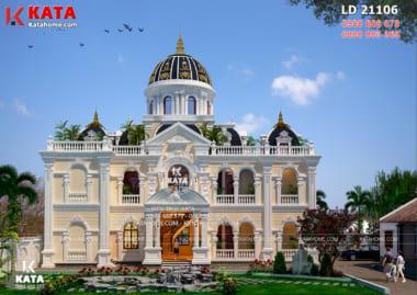 Phối cảnh 3D chi tiết của mẫu dinh thự lâu đài 2 tầng tân cổ điển