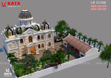 Dinh thự lâu đài tân cổ điển 2 tầng đẹp với phối cảnh 3D từ trên cao
