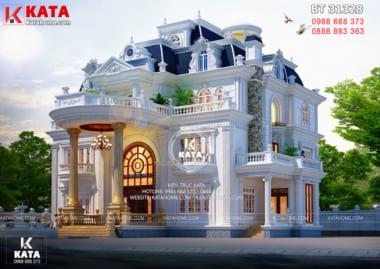 Phối cảnh 3D ngoại thất với vẻ sang trọng bề thế của mẫu dinh thự tân cổ điển 3 tầng đẹp đẳng cấp tại Bắc Giang