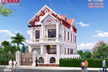 Mặt tiền mẫu nhà 2 tầng đẹp nhiều mái tại Nam Định