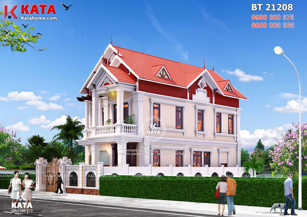 Mẫu nhà 2 tầng đẹp nhiều mái tại Nam Định độc đáo và ấn tượng