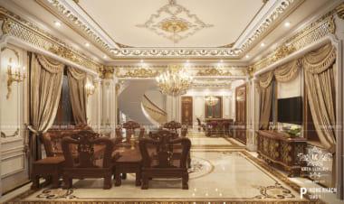 Thiết kế nội thất phòng khách tân cổ điển sang trọng đẹp